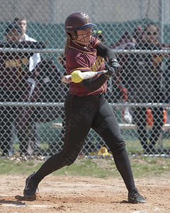 Sheehan's Riley Wolcheski makes contact Sunday at Pragemann Park in Wallingford April 8, 2018 | Justin Weekes / Special to the Record-Journal