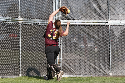 Sheehan's Carolyn Biel catches a fouls ball for the final out advancing the Titans to the semifinals Wednesday during the quarterfinal round if the SCC tournament at Cheshire High School in Cheshire  May 23, 2018   Justin Weekes / Special to the Record-Journal