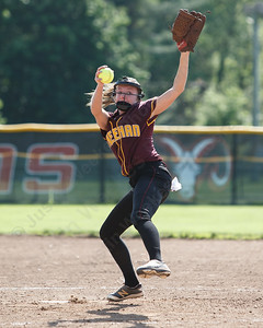 Sheehan's Erin Dighello delivers a pitch Wednesday during the quarterfinal round if the SCC tournament at Cheshire High School in Cheshire  May 23, 2018   Justin Weekes / Special to the Record-Journal