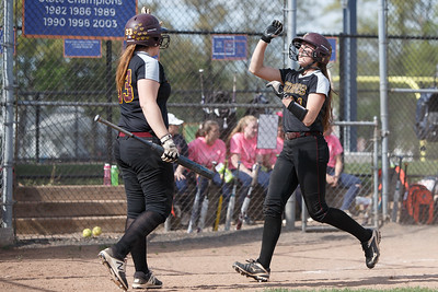 Sheehan's Samantha Iannone celebrates after scoring Wednesday at Lyman Hall High School in Wallingford May 9, 2018 | Justin Weekes / Special to the Record-Journal