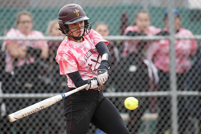 Sheehan's Samantha Iannone drives in a run to put the Titans on the board first Wednesday at Pragemann Park in Wallingford April 18, 2018 | Justin Weekes / Special to the Record-Journal