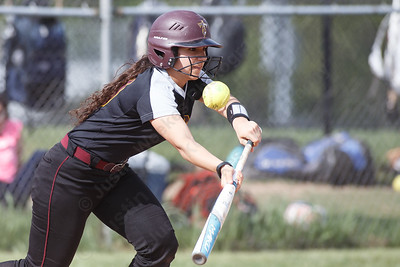 Sheehan's Nicole Dorsey tries to get a bunt in play Wednesday at Lyman Hall High School in Wallingford May 9, 2018 | Justin Weekes / Special to the Record-Journal