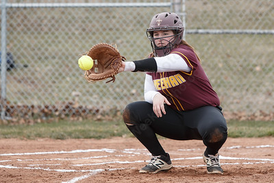 Sheehan's Carolyn Biel in a pre-season scrimmage with Amity Tuesday at Sheehan High School in Wallingford March 27, 2018 | Justin Weekes / Special to the Record-Journal