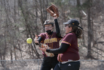 Sheehan's Marissa Gonzalez right and Sheehan's Meghan Murphy miscommunicate on a Cheshire's Emma Watkinson pop up Sunday at Pragemann Park in Wallingford April 8, 2018 | Justin Weekes / Special to the Record-Journal