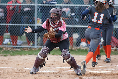Sheehan's Carolyn Biel waits for the throw as Lyman Hall's Elise Hastings scores Wednesday at Pragemann Park in Wallingford April 18, 2018 | Justin Weekes / Special to the Record-Journal