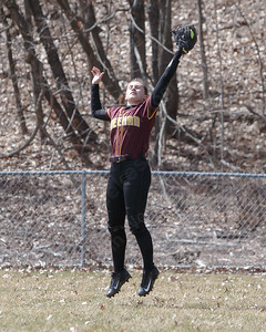 Sheehan's Gabrielle Fiedler brings in a fly ball for an out Sunday at Pragemann Park in Wallingford April 8, 2018 | Justin Weekes / Special to the Record-Journal