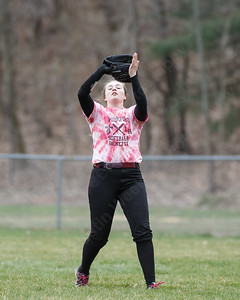 Sheehan's Sydney Hunt brings in a fly ball from Lyman Hall's Elise Hastings  Wednesday at Pragemann Park in Wallingford April 18, 2018 | Justin Weekes / Special to the Record-Journal