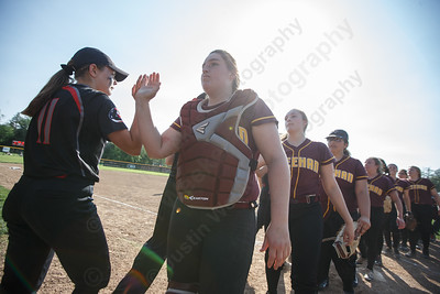 Sheehan's Carolyn Biel and the Titans move on to the semifinals Wednesday during the quarterfinal round if the SCC tournament at Cheshire High School in Cheshire  May 23, 2018   Justin Weekes / Special to the Record-Journal