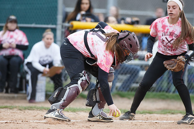 Sheehan's Carolyn Biel field a bunt Wednesday at Pragemann Park in Wallingford April 18, 2018 | Justin Weekes / Special to the Record-Journal