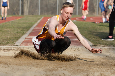 Sheehan's Nate Homestead in the long jump Friday during the Record-Journal Invitational at Sheehan High School in Wallingford April 13, 2018 | Justin Weekes / Special to the Record-Journal