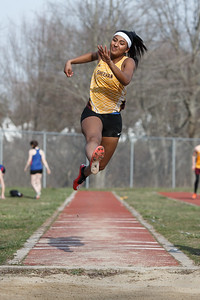 Sheehan's Elisa Tolentino in the long jump Friday during the Record-Journal Invitational at Sheehan High School in Wallingford April 13, 2018 | Justin Weekes / Special to the Record-Journal