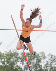 Sheehan's Stephanie Phoenix clears her attempt at 10 feet Monday during the CIAC State Open at Willow Brook Park in New Britain  May 31, 2016 | Justin Weekes / Special to the Record-Journal