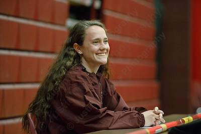 Sheehan's Stephanie Phoenix signs her National Letter of Intent to attend Franklin Pierce University on a scholarship for Track and Field pole vaulting Friday during a signing ceremony at Sheehan High School in Wallingford April 27, 2018 | Justin Weekes / Special to the Record-Journal