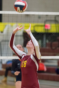 Sheehan's Kari Dietle sets Monday at Sheehan High School in Wallingford September 11, 2017 | Justin Weekes / For the Record-Journal