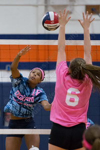 Lyman Hall's Eryka West gets off a spike for a kill Thursday at Lyman Hall High School in Wallingford October 5, 2017 | Justin Weekes / For the Record-Journal