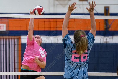 Sheehan's Carolyn Biel cuts a spike for a kill Thursday at Lyman Hall High School in Wallingford October 5, 2017 | Justin Weekes / For the Record-Journal