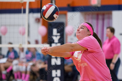 Sheehan's Carolyn Biel digs a Lyman Hall serve Thursday at Lyman Hall High School in Wallingford October 5, 2017 | Justin Weekes / For the Record-Journal