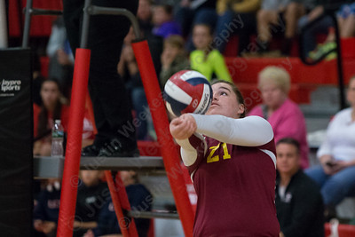 Sheehan's Carolyn Biel sends a dig over the net Thursday during the SCC semifinals at Cheshire High School in Cheshire November 2, 2017 | Justin Weekes / For the Record-Journal