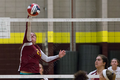 Sheehan's Carolyn Biel gets a kill unchallenged Monday at Sheehan High School in Wallingford  September 25, 2017 | Justin Weekes / For the Record-Journal