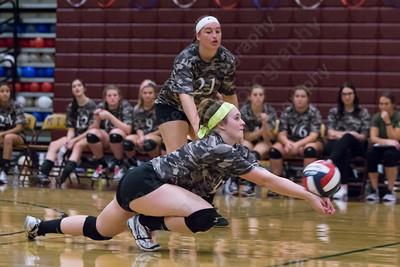 Sheehan's Sydney Hunt digs a North Haven serve Wednesday during a Military appreciation game at Sheehan High School in Wallingford October 18, 2017 | Justin Weekes / For the Record-Journal