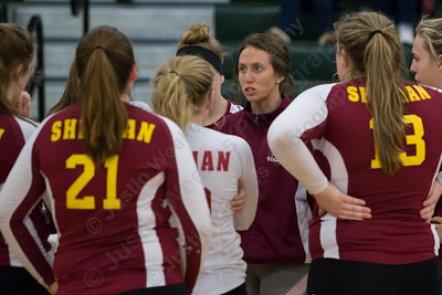 Sheehan's Victoria Sperrazza talks with players during a time out Wednesday at Maloney High School in Meriden October 11, 2017 | Justin Weekes / For the Record-Journal