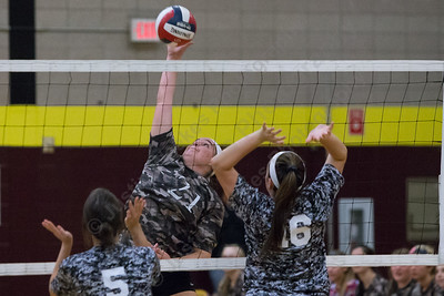 Sheehan's Carolyn Biel gets a spike off for a kill Wednesday during a Military appreciation game at Sheehan High School in Wallingford October 18, 2017 | Justin Weekes / For the Record-Journal