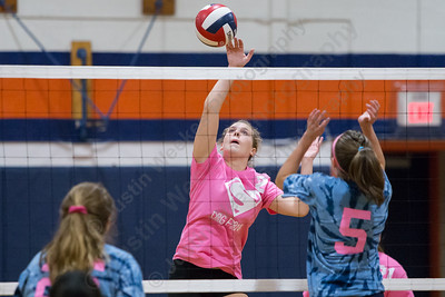 Sheehan's Macey Sundwall gets a spike over the net for a kill Thursday at Lyman Hall High School in Wallingford October 5, 2017 | Justin Weekes / For the Record-Journal