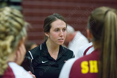 Sheehan's head coach Victoria Sperrazza speaks with players during a time out Monday at Sheehan High School in Wallingford  September 25, 2017 | Justin Weekes / For the Record-Journal