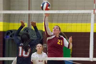Sheehan's Carolyn Biel drops a touch behind Lyman Hall's blockers Monday at Sheehan High School in Wallingford September 11, 2017 | Justin Weekes / For the Record-Journal