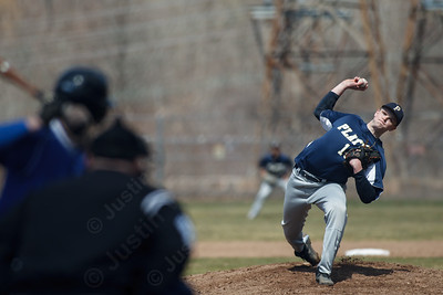 Platt's Tristan Arjavich (18) delivers a pitch to Wilcox's Richy Vargas (6) Saturday at Legion Field in Meriden Apr. 11, 2015 | Justin Weekes / For the Record-Journal