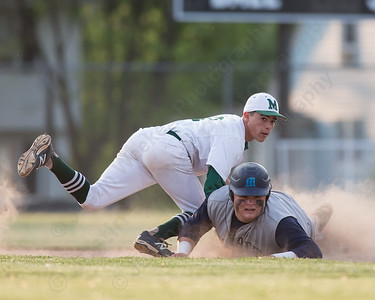 Maloney's Joseph Gulino (2) tags Platt's Will Kyzwanos (22) out at second Tuesday at Ceppa Field in Meriden May. 26, 2015 | Justin Weekes / For the Record-Journal