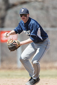 Platt's Gary Costello (2) turns to first base after fielding a grounder Saturday at Legion Field in Meriden Apr. 11, 2015 | Justin Weekes / For the Record-Journal