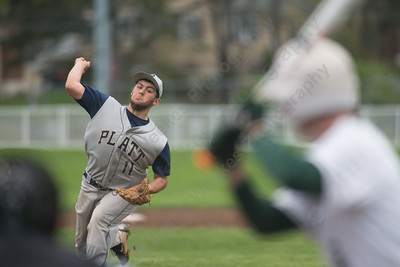 Platt's Jason Sullivan delivers a pitch to Maloney's Aidan Clancy Saturday at Ceppa Field in Meriden May. 7, 2016 | Justin Weekes / For the Record-Journal