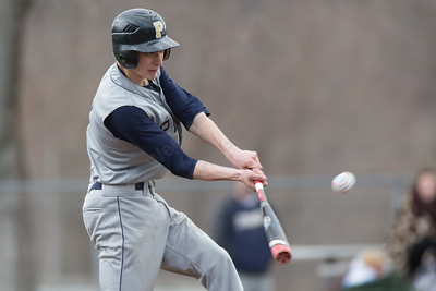 Platt's Owen O'Keefe connects for a base hit driving in Jeff Morales in the second inning Friday at Legion Field in Meriden Apr. 8, 2016 | Justin Weekes / For the Record-Journal