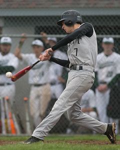Platt's Owen O'Keefe makes contact Saturday at Ceppa Field in Meriden May. 7, 2016 | Justin Weekes / For the Record-Journal
