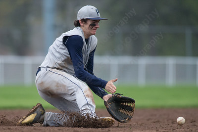 Platt's Cameron Coon fields a hot from Maloney's Michael Charest Saturday at Ceppa Field in Meriden May. 7, 2016 | Justin Weekes / For the Record-Journal