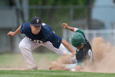 Platt's Andrew Abrahante tags out a stealing Maloney's Joseph Gulino  at second Monday at Ceppa Field in Meriden May,23 2016 | Justin Weekes For the Record-Journal