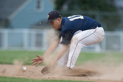 Platt's Andrew Abrahante fields a ground ball from Maloney's Michael Charest Monday at Ceppa Field in Meriden May,23 2016 | Justin Weekes For the Record-Journal