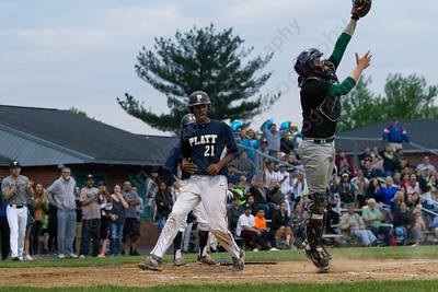 Platt's Jeffrey Morales Rosario crosses home plate giving the Panthers a 1 run lead Monday at Ceppa Field in Meriden May,23 2016 | Justin Weekes For the Record-Journal