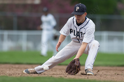 Platt's Jake Baker fields a hit from Maloney's Joseph Golebiewski Monday at Ceppa Field in Meriden May. 1, 2017 | Justin Weekes / For the Record-Journal
