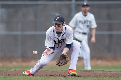 Platt's Jonathan Cahill fields a ground ball Friday at Legion Field in Meriden Apr. 7, 2017 | Justin Weekes / For the Record-Journal
