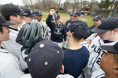 Platt's head coach Tim Redican and the Panthers get ready to face Wilcox Tech Friday at Legion Field in Meriden Apr. 7, 2017 | Justin Weekes / For the Record-Journal
