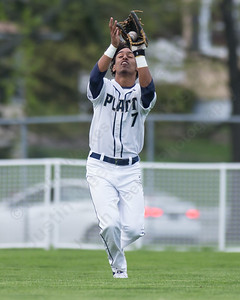 Platt's Ethan Dudley brings in a fly ball from Maloney's Elliot Good Monday at Ceppa Field in Meriden May. 1, 2017 | Justin Weekes / For the Record-Journal