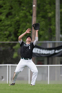 Maloney's Kyle Carlson brings in a fly ball Tuesday at Ceppa Field in Meriden May. 23, 2017 | Justin Weekes / For the Record-Journal