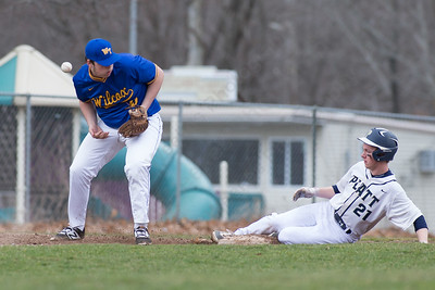 Platt's Cameron Germe beats the tag into third Friday at Legion Field in Meriden Apr. 7, 2017 | Justin Weekes / For the Record-Journal