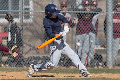 Platt's Jake Baker connects for a hit Thursday during a scrimmage at West Side field in Wallingford Mar. 30, 2017 | Justin Weekes / For the Record-Journal