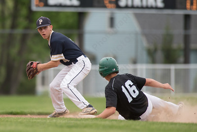 Platt's Jake-L'Heureux Baker turns to first after the force out at second Tuesday at Ceppa Field in Meriden May. 23, 2017 | Justin Weekes / For the Record-Journal