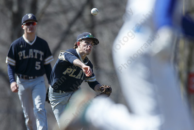 Platt's Jake-L'Heureux Baker throws out Wilcox Tech's Nicholas Priebe at first Saturday at Legion Field in Meriden April 7, 2018 | Justin Weekes / Special to the Record-Journal