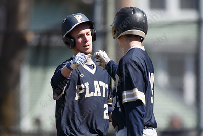 Platt's Cameron Germe celebrates with Platt's Andrew McCarty after scoring Saturday at Legion Field in Meriden April 7, 2018 | Justin Weekes / Special to the Record-Journal