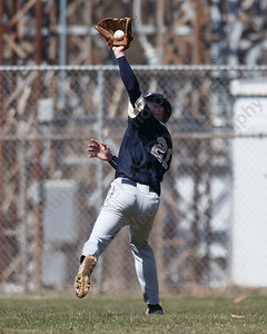 Platt's Cameron Germe brings in a fly ball in right field Saturday at Legion Field in Meriden April 7, 2018 | Justin Weekes / Special to the Record-Journal